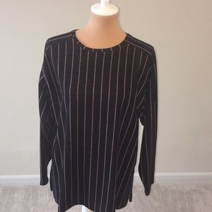 Zara long sleeve striped crew neck sweatshirt